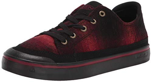 KEEN womens Elsa 4 Casual Sneaker, Red Plaid/Black, 9.5 US