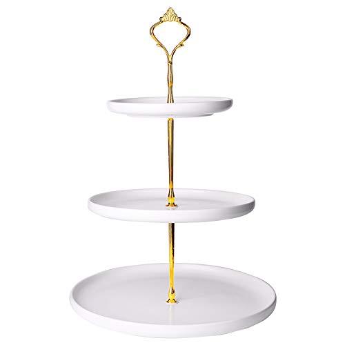 Kanwone 3-stöckiger Cupcake-Ständer aus Porzellan, Etagere Servierständer, Dessertständer, Serviertablett Platte für Tee-Party, Hochzeit, Babyparty, Buffet-Servierer, matt weiß