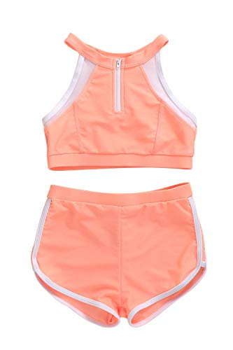 XUNYU Girls Athletic Two Piece Swimsuit Tank Tops Bikini Set Sports Swimwear Bathing Suits for Women