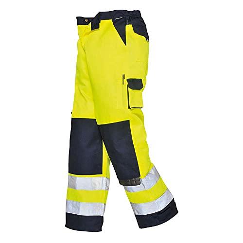 Portwest Lyon Hi-Vis Trousers for men, Regular Length, Colour: Yellow/Navy, Size: L, TX51YNRL