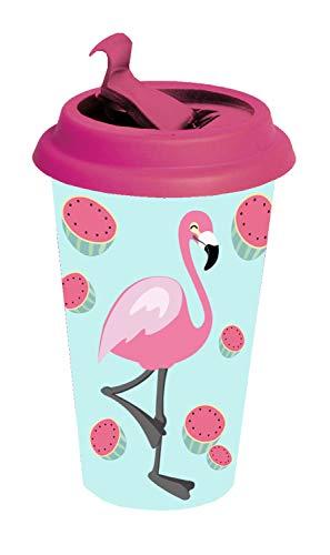 POS 28845 - Coffee to Go Becher mit angesagtem Flamingo Motiv, aus Bambus, mit Deckel und Banderole, Fassungsvermögen circa 390 ml, ideal zum Genuss von Kaffee oder anderen Heißgetränken für unterwegs