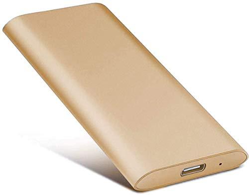 2TB External Hard Drive, Portable Hard Drive External Type-C/USB 2.0 HDD for Mac Laptop PC(2TB-Gold)
