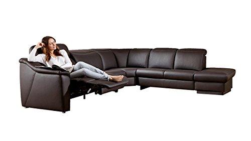 Relax Wohnlandschaft Leder schoko Eckgarnitur Sofa Couch günstig