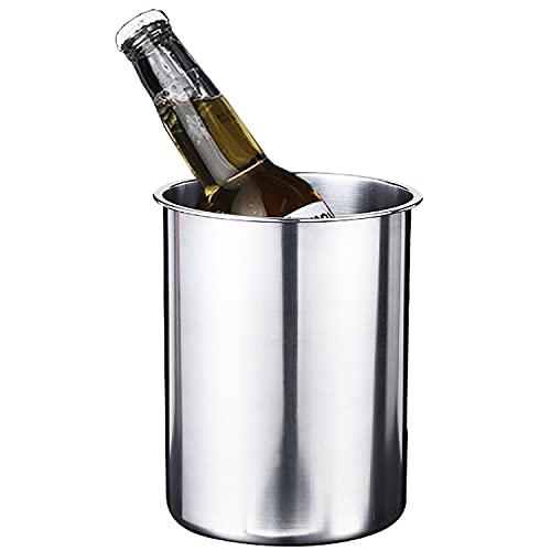 QAQA Cubitera para Champan - Cubitera para Cervezas - Elegante Cubo de Vino o Enfriador de Champán paraTodas Las Botellas de Vino de 750 ml (Acero Inoxidable) 2.5L
