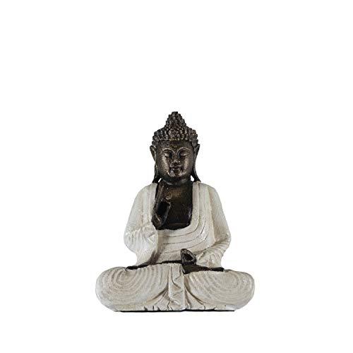 Edenjardi Figura de Buda meditando en Color Blanco rústico | 32 cm de Alto