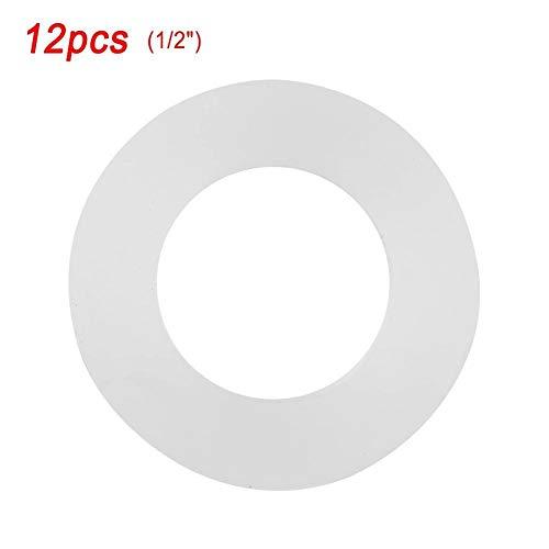 Broco 12st Flachdichtung weiß Silikon-O-Ring-Dichtscheiben for Bellows Schläuche (1/2