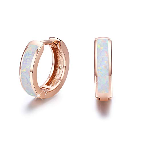925 Sterling Silver Rose Gold Plated Huggie Earrings Small Hoop Earrings Fine Circle Hinged Hoop for Women Cute Synthetic Opal Earrings Gift for Girls Studs Sleeper Earring