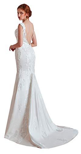 CGown Damen Brautkleid, doppelter V-Ausschnitt, Pailletten, Satin-Applikation, Meerjungfrau-Hochzeitskleid, ärmellos Gr. 36, weiß
