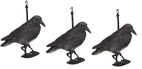 HelpAccess Rabe taubenschreck/Taubenabwehr und Taubenschreck aus Kunststoff, Vogelabwehr /3 x Kunststoff-Rabe zur Taubenabwehr mit Stock und Füßen