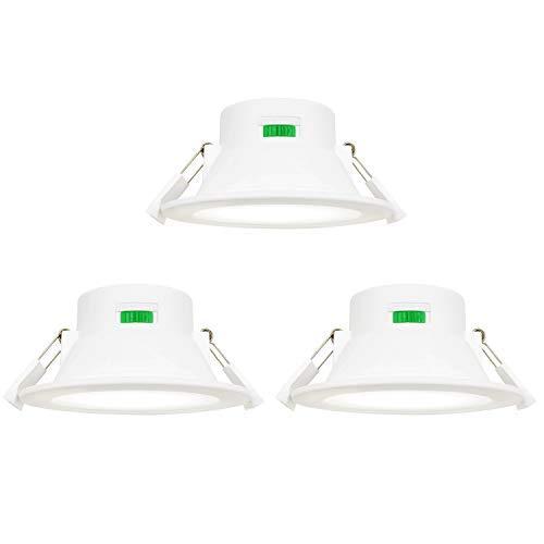 LED Einbauleuchten Deckeneinbauleuchten Einbaustrahler Flach Dimmbar 10W Lichtfarbe Einstellbar AC220-240V Deckenloch Φ90-105MM IP44 für Küche Badezimmer 3er Pack von Enuotek