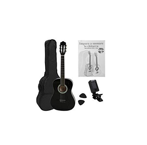 Navarra NV12PK - Guitarra Clásica para Aprender, Sintonizador con Clip Pantalla LCD, con Funda Tipo mochila y Bolsillo para Partituras/ Accesorios, Negro, Escala 650 mm