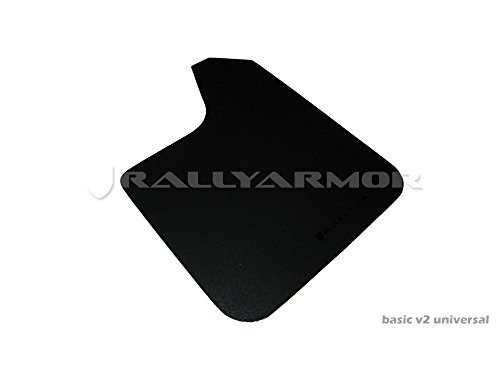 Rally Armor MF12-BAS-BLK Basic Black Mud Flap with Logo (Universal Fitment (no Hardware)), 1 Pack