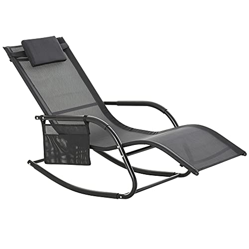 Outsunny Outdoor Rocking Recliner, Sling Sun Lounger with Removable Headrest and Side Pocket for Garden, Patio and Deck, Black