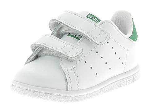 adidas Stan Smith CF I, Pantofole Unisex-Bimbi, Bianco (Ftwbla/Verde 000), 20 EU