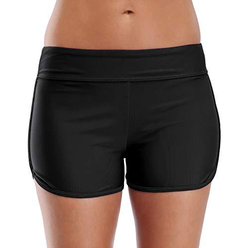 CharmLeaks Women Swim Boardshorts Boyleg Swimming Shorts Bikini Bottoms Black XL