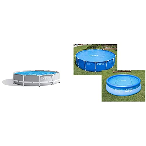 Intex 26700Np Piscina Elevada Redonda Prisma Frame 305 X 76 Cm + 29021 Cobertor Solar para Piscinas 305 Cm De Diámetro