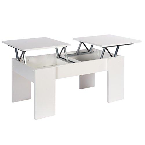 Studio Decor Ganso Mesa de Centro con 2 Tapas Elevables, Madera manufacturada, Blanco, 100x50x45 cm