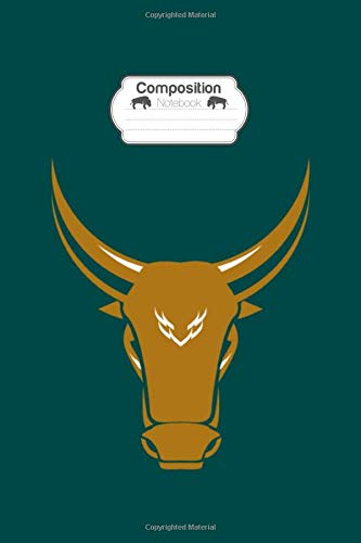 Composition Notebook: head bull cow animal logo vector image cartoon art - 50 sheets, 100 pages - 6 x 9 inches