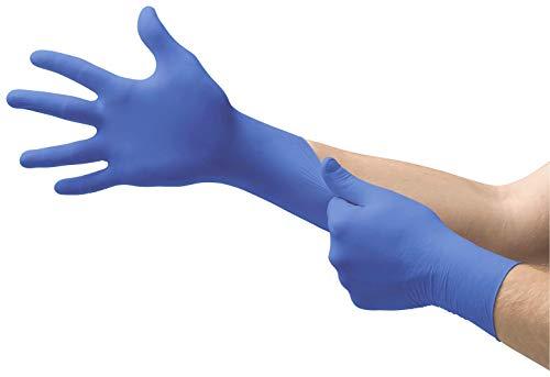 Ansell Medical Micro-Touch Nitrile Untersuchungshandschuhe aus Nitril für Mediziner, Pflegepersonal, Tattoowierer, Puderfrei, Blau, Größe M (Packung mit 100 Stück)