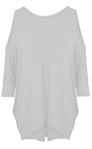 Damen Longshirt, Oberteil, Tunika, Kleid, Fledermausärmel, Schulter-Cutouts, Größe 34–52 Gr. XXXL-(50-52), weiß