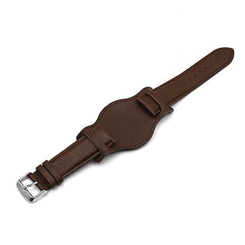 HNGM Correas para Relojes de Hombre 18 mm 20 mm 22 mm Correa de Reloj con cojín Black Brown Brown Pulsera de Cuero Reloj de Reloj de Hombre (Band Color : Coffee, Band Width : 18mm)