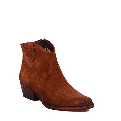 Felmini - Zapatos para Mujer - Enamorarse com West B504 - Botines Cowboy & Biker - Cuero Genuino - Marrón