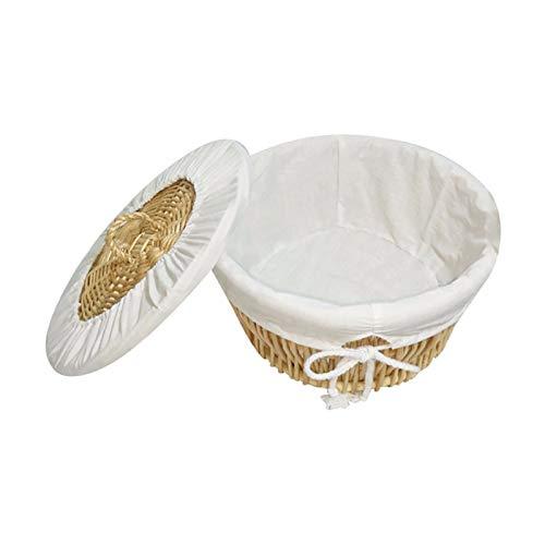 Canasta de pan Cestas de pan de corrección cesta redonda de ratán pan de corrección de la cesta con la tapa de la cocina tejida mimbre de la cesta del pan redondo