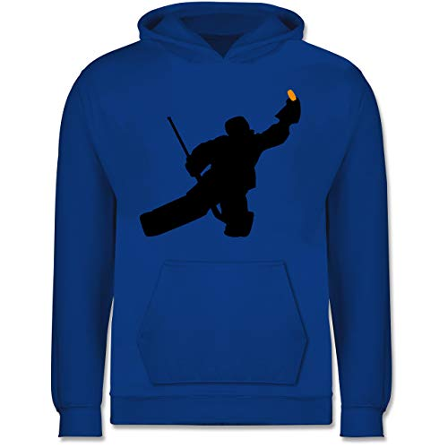 Sport Kind - Towart Eishockey Eishockeytorwart - 152 (12/13 Jahre) - Royalblau - Eishockey Geschenk - JH001K - Kinder Hoodie