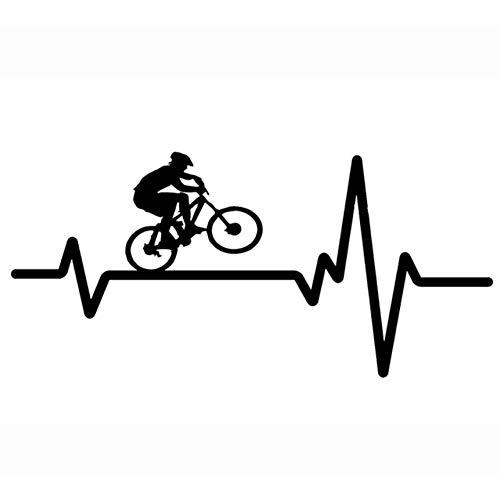MGMYHMST Car Sticker 16.9Cm7.9Cm Cycling Mountain Bike Helmet Heartbeat Decal Vinyl Black/Silver Car Sticker