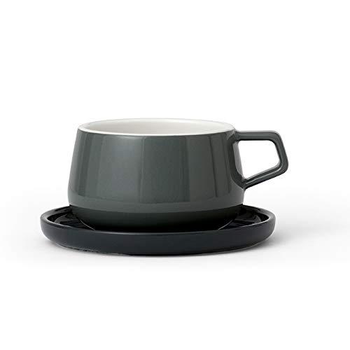 Theekop of koffiekopje met schotel, porselein, met handvat, 0.3 liter, donker grijs