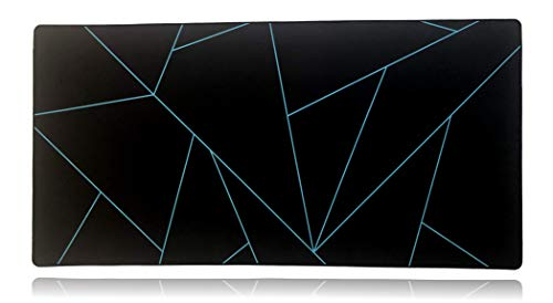 Mega Size Gaming Mouse Pad - Anti Slip Rubber Base - Stitched Edges - Large Desk Mat - 48' x 24' x 0.16' (Mega, Blue Shards)