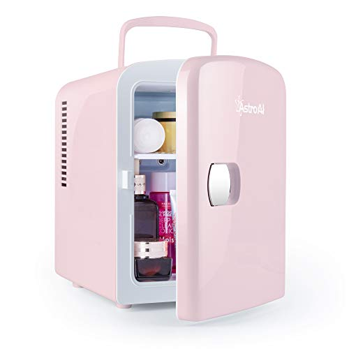 AstroAI Mini Fridge 4 Liter/6 Can AC/DC Portable Thermoelectric Cooler and Warmer for Skincare, Foods, Medications, Home and Travel (Pink)