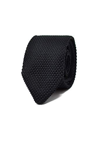 Oxford Collection Corbata de hombre Negro de Punto - 100% Seda - Clásica, Elegante y Moderna - (ideal para un regalo, una boda, con un traje, en la oficina.)
