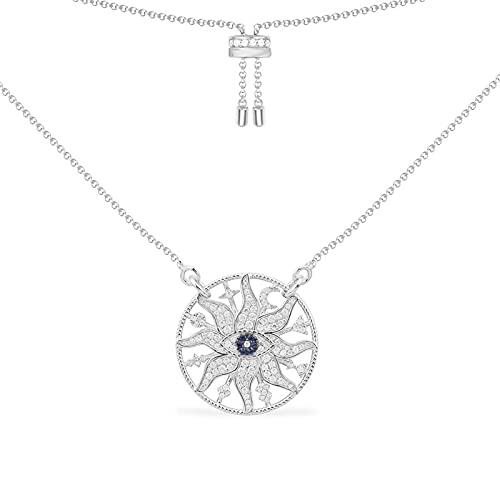 collar Collar Ajustable Con Colgante De Sol De Ojo Malvado De Plata De Ley 925, Piedra De Circonita Micro, Lujo Para Mujer