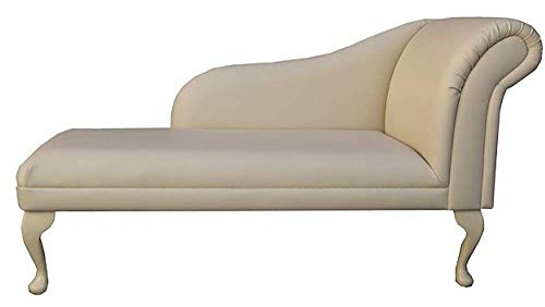 Beaumont Fabrics 52' Large Classic Chaise Longue - Sofa Day Bed - Cream Faux Leather - Right Facing With Queen Anne Legs