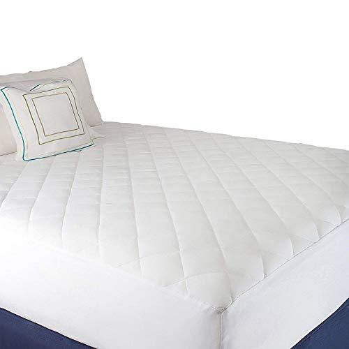 Abit Comfort Mattress cover, Quilted fitted mattress pad queen fits up to 20' deep hypoallergenic comfortable soft white cotton-poly