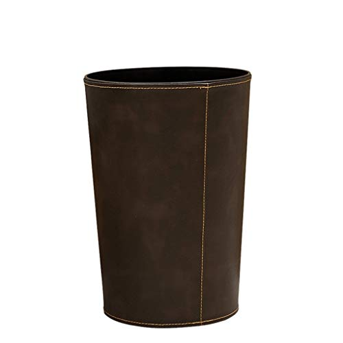 zxb-shop Garbage Bin for Kitchen, Office, Home Creative Leather Trash Can Home Living Room Bedroom Bathroom Kitchen Office Wastebasket Silent and Gentle Open and Close (Color : Brown)