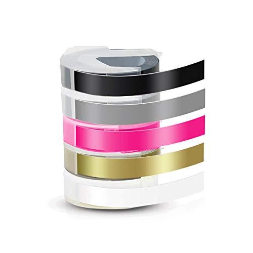 LATTCURE 3D Prägeband, Kompatible Prägeband als Ersatz für Dymo 3D Kunststoff Prägebändern Selbstklebend Etikettenband für Dymo Omega und Junior Motex