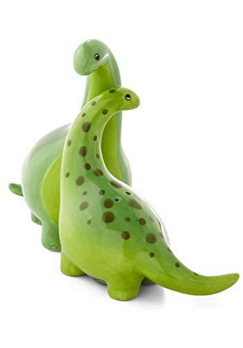 Green Brontosaurus Dinosaur Salt & Pepper Shaker Set, 3.75 Inches, Ceramic by Salt_Pepper