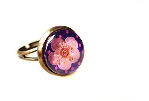 Ladyville Ring - Echte getrocknete Blüte rosa