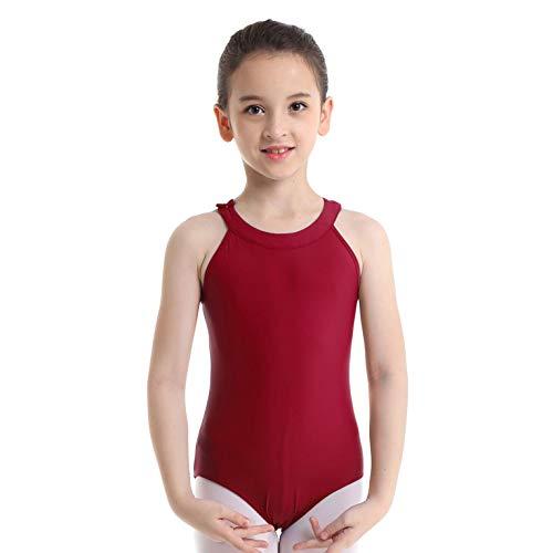 iixpin Kinder Spitze Ballettanzug Ärmellos Ballettbody Neckholder Tanz Trikot Leotard Rückfrei Tanzbody Gymnastikanzug Gr.110-164 Wein Rot 140-152