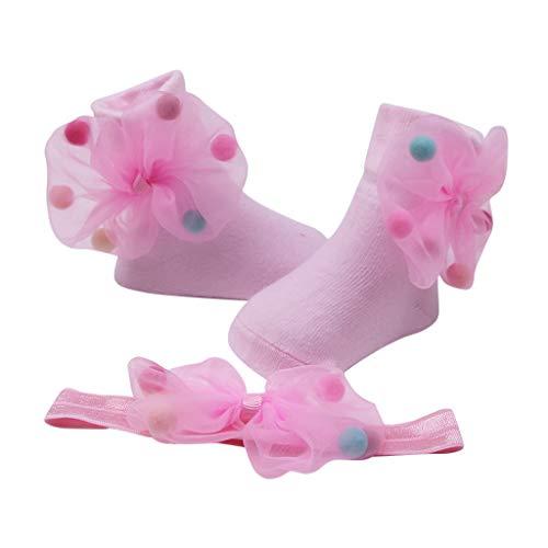 Sensail Chaussettes bébé couleur unie coton confortable bébé fille cheveux boule arc bande de cheveux chaussettes décoratives anti-dérapantes+Bande de cheveux