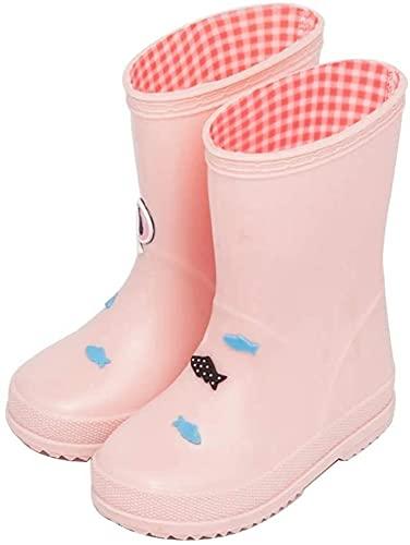 GJJSZ Botas de Lluvia Botas de Lluvia para niños, niños y niñas, Moda, Dibujos Animados, Botas de Lluvia, niños, Impermeables, Antideslizantes, Botas de Lluvia Botas (Color : Pink, Size : 17.8cm)