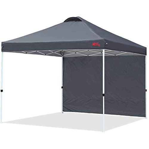 MASTERCANOPY Patio Pop Up Instant shelter Beach Canopy Better Air Circulation Canopy with Wheeled Backpack Carry Bag (8x8 ft, Black)