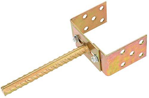 KOTARBAU® U-Pfostenträger 0-125 mm Breitenverstellbar zum Einbetonieren Gelb