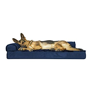 Furhaven Pet Dog Bed | Deluxe Orthopedic Plush & Velvet L-Shaped Chaise Couch Pet Bed for Dogs & Cats, Deep Sapphire, Jumbo