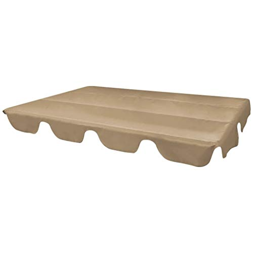UnfadeMemory Schaukeldach Ersatzdach für Gartenschaukel Sonnendach Wasserdicht Flachdach 226x186 cm, Polyester mit PVC-Beschichtung (Taupe)