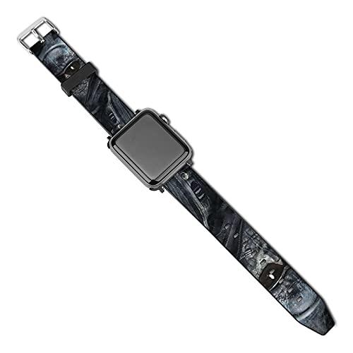 Ghost Call of Duty - Correa de piel compatible con Apple Watch Band de 38 mm, 40 mm, 42 mm, 44 mm, suave piel deportiva elástica para mujeres y hombres, compatible con iWatch Series SE 5/4/3/2/1