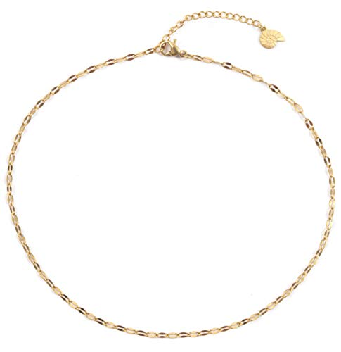 Happiness Boutique Damas Choker Delicado en Color Oro | Collar de Cadena Joyería de Acero Inoxidable