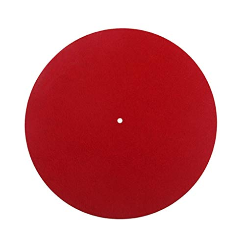 Supvox Plattenspieler Matte Slipmat 300mm Anti Static Anti Vibration für LP Vinyl Plattenspieler (rot)